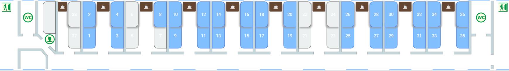 シベリア鉄道2等車の座席図