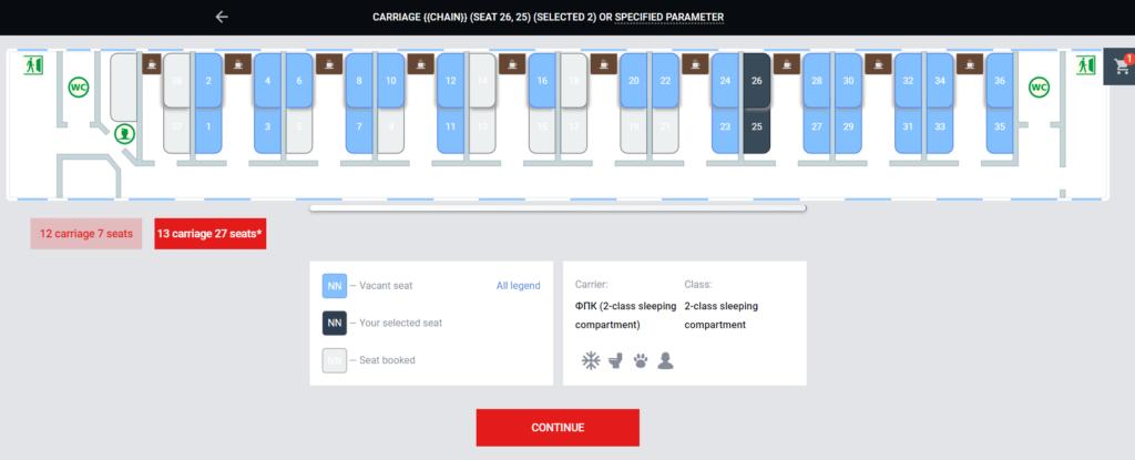 シベリア鉄道の座席洗濯画面